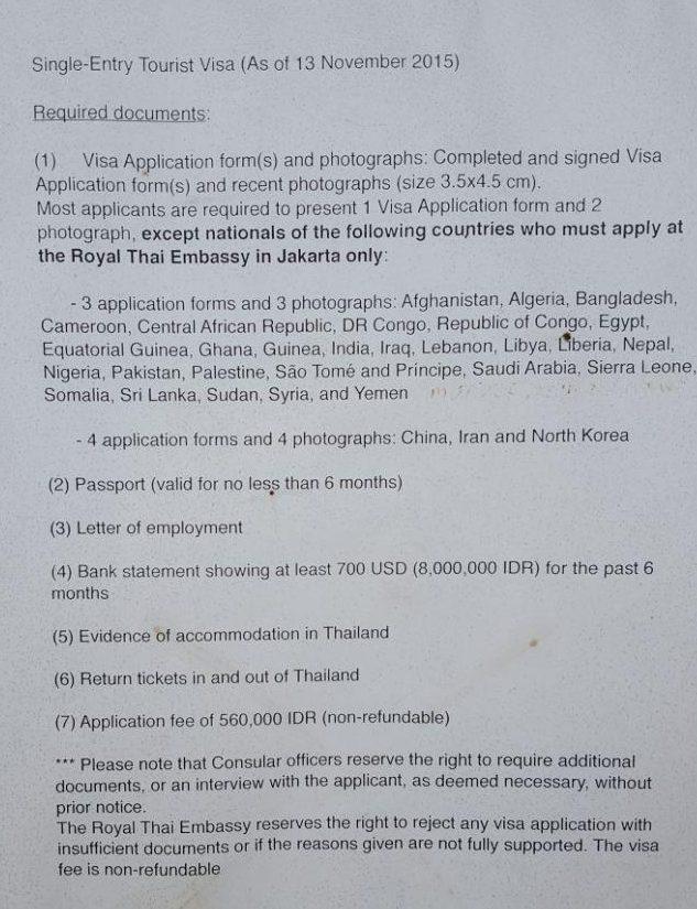 Какие документы подготовить, чтобы получить тайскую визу на Бали