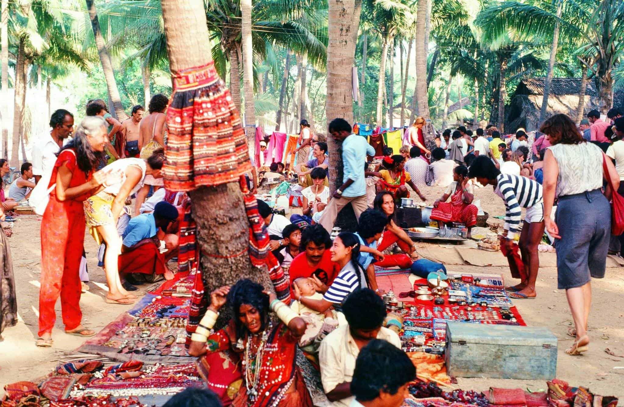 Anjuna flea market, Гоа, Индия, 1982.