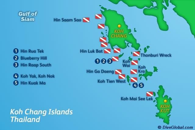 Карта дайвинг - спотов вокруг Ко Чанга