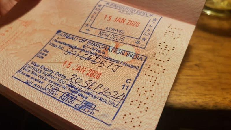 Штамп электронной индийской визы январь 2020
