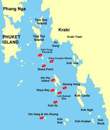 Карта дайвинг-спотов в окрестностях Краби